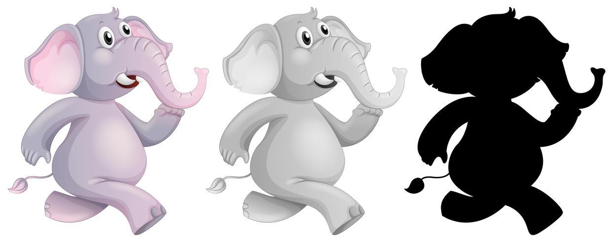 Ensemble d'éléphant en cours d'exécution