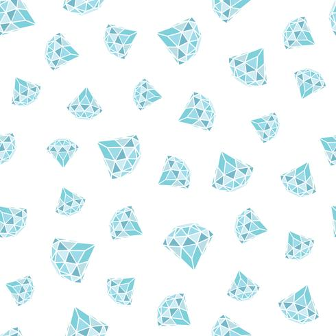 Seamless pattern of geometric blue diamonds on white background. Trendy hipster crystals design. vector