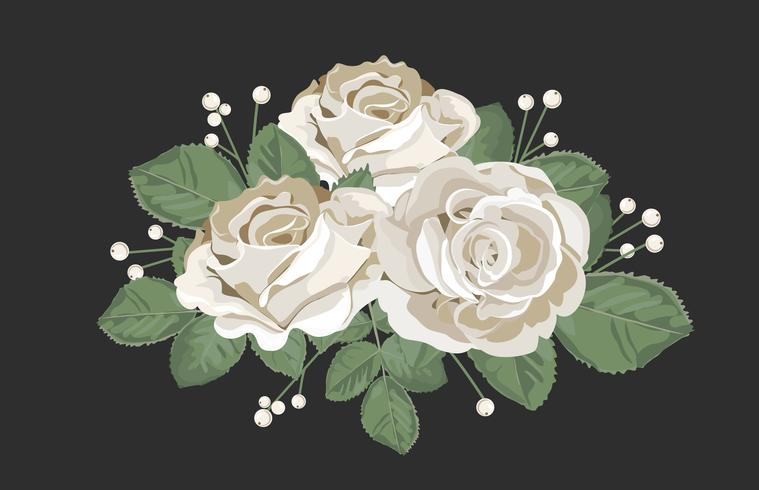 Ramo de diseño retro. Rosas blancas con las hojas y la baya en fondo negro. Ilustración de vector floral tierna en estilo acuarela vintage.