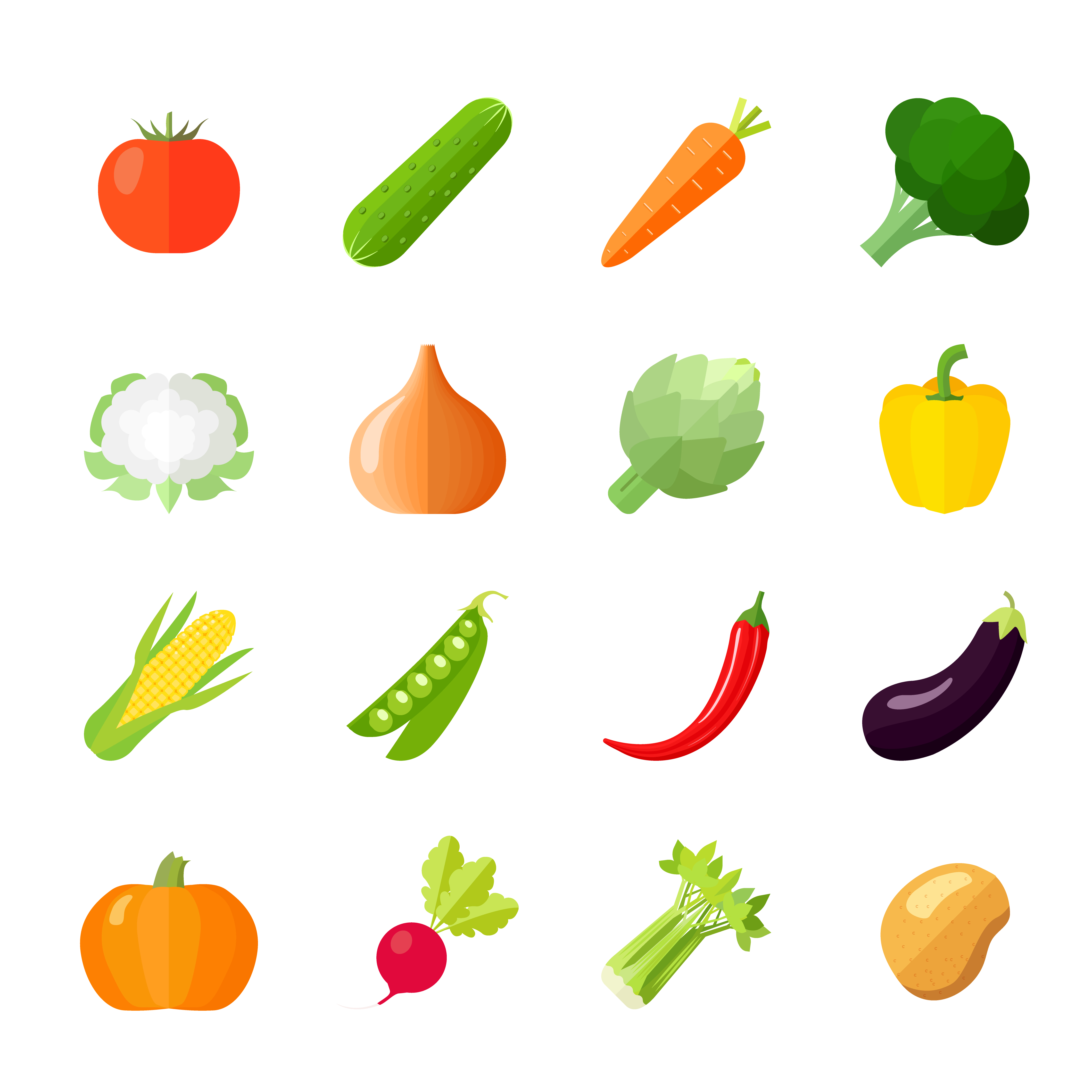 Vegetables Icons Flat - Download Free Vectors, Clipart
