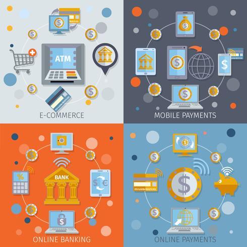 Iconos de banca móvil planos vector