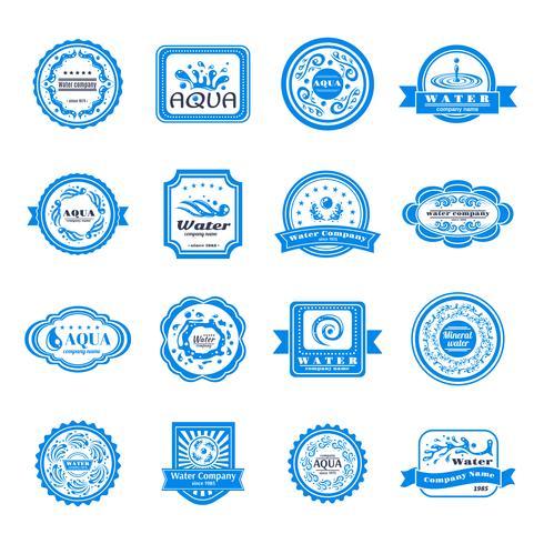 Conjunto de emblemas de agua. vector