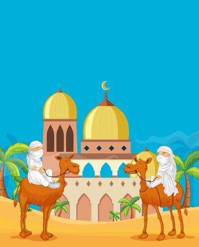 Arabische mensen bij moskeewoestijn