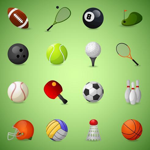 Conjunto de ícones de equipamentos esportivos vetor