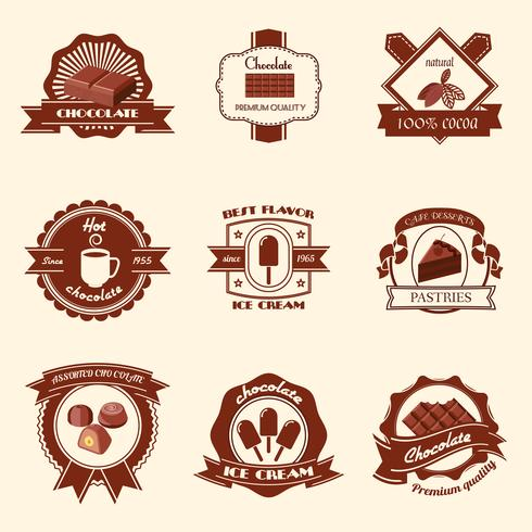 Chocolate labels set vector