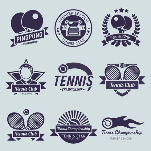 Tennis Etikett Svart vektor