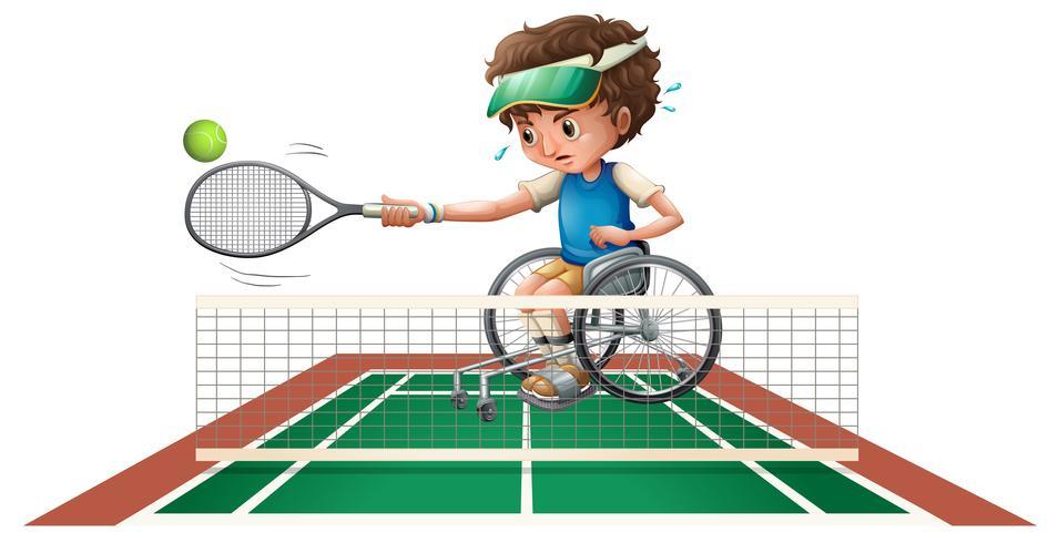 Boy in wheelchair playing tennis
