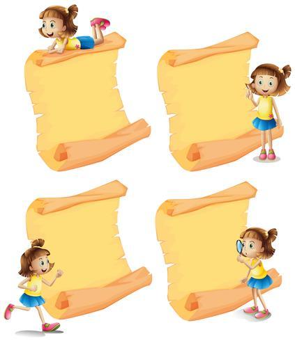 Quatre papiers vierges avec une fille dans différentes actions