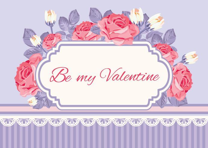 Shabby chic bakgrund, rosor med Var min valentinprovstekst i vintageram. Blom kort mall. Vektor illustration