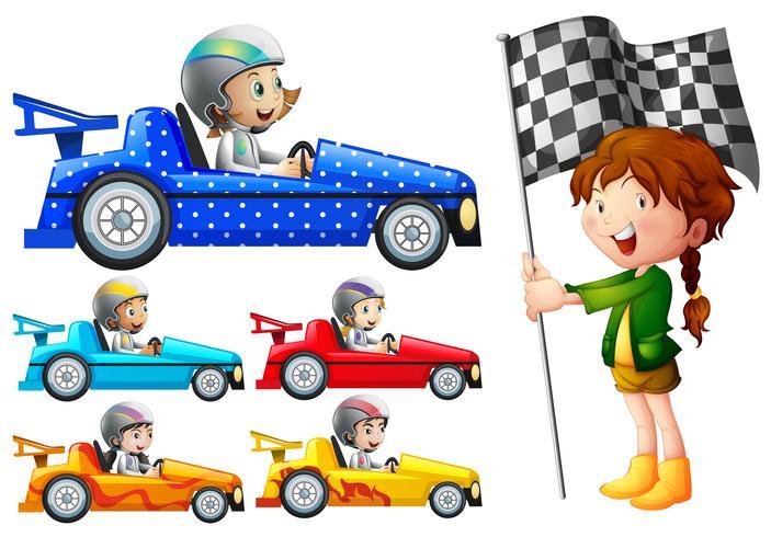 Niños en autos de carreras.