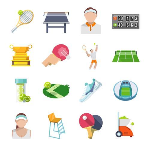 Tennis ikoner platt uppsättning