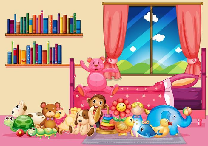 Muitos brinquedos e livros no quarto