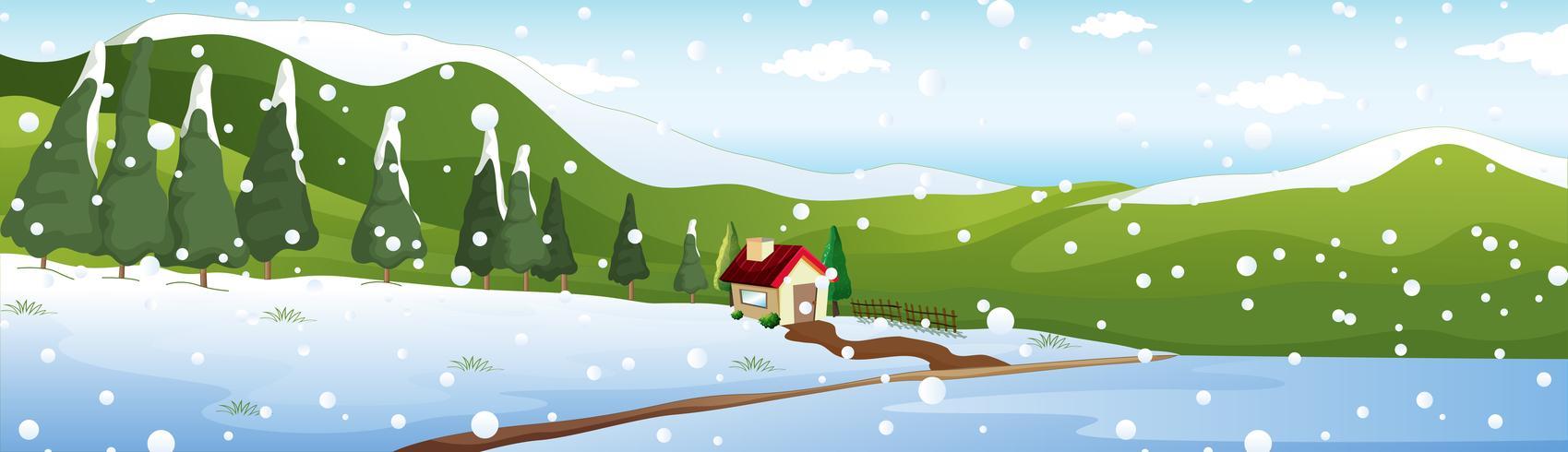 Scena di sfondo con casa in inverno
