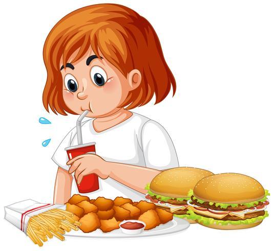Fat tjej äter snabbmat