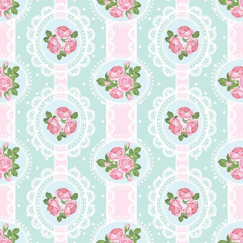 Shabby chic rose seamless pattern on polka dot background vector