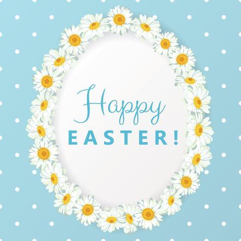 Happy easter card. Chamomile egg shape frame on blue polka dot background