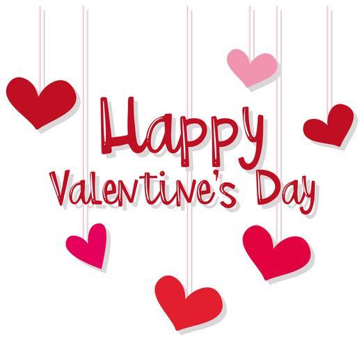 Plantilla de tarjeta velentina con corazones rojos y rosados.