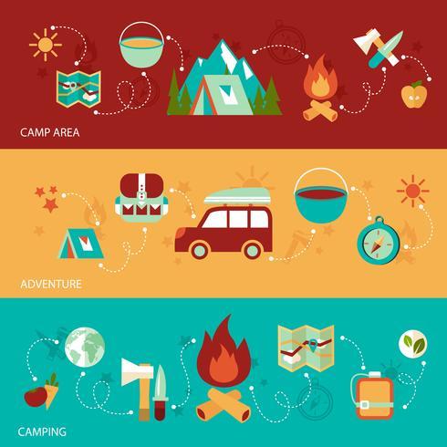 Bandera plana de camping vector