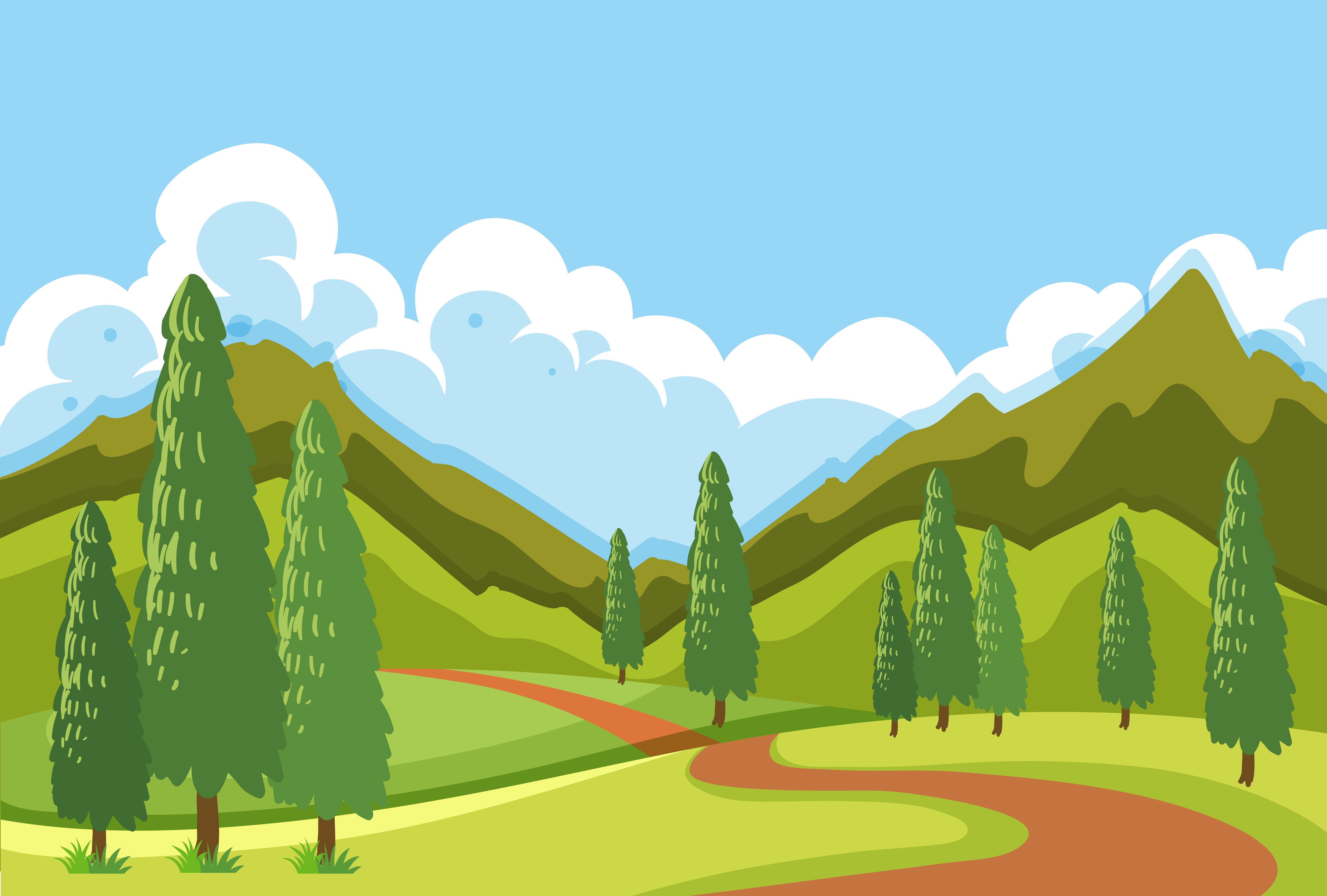 a flat mountain road landscape 444873 vector art at vecteezy
