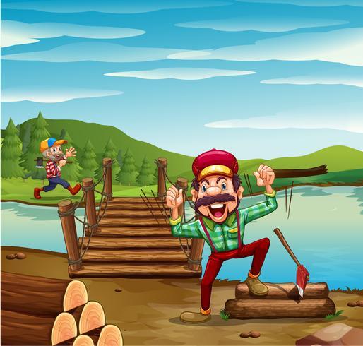 Two lumber jacks chopping woods vector