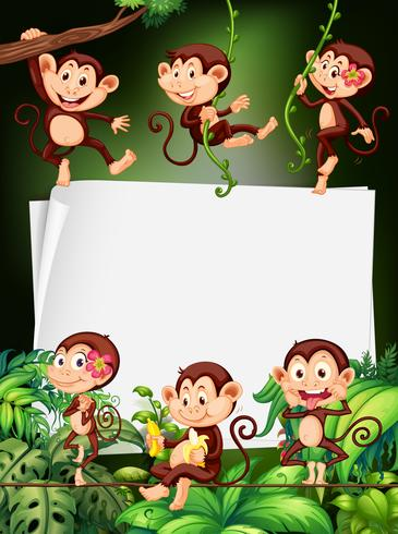 Border design with monkeys in the forest