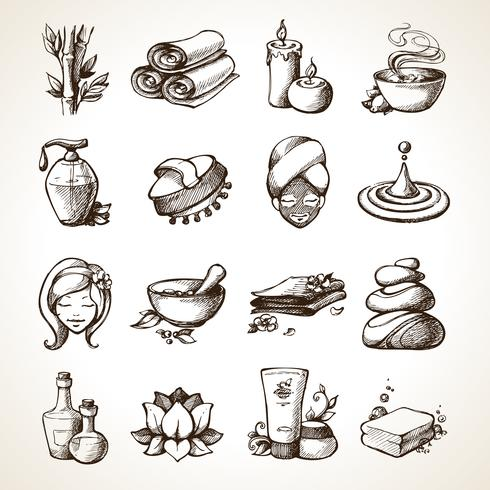 iconos de esbozo de spa vector