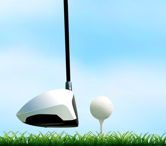 Golfclub en golfbal op het gazon