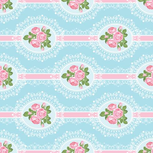 Shabby chic rosa patrón sin costuras sobre fondo azul