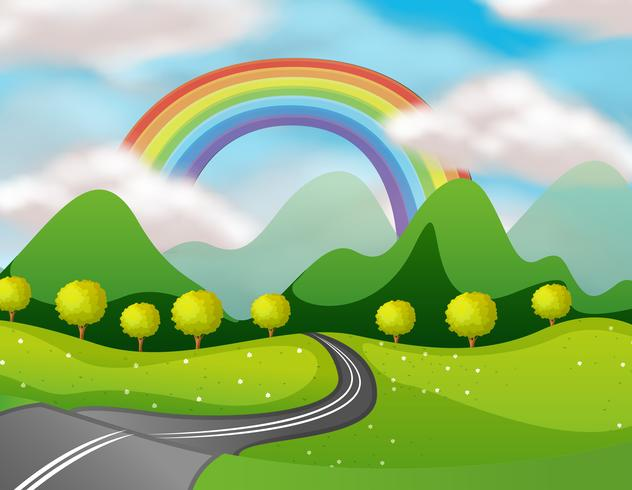 Vacker naturväg under regnbågen