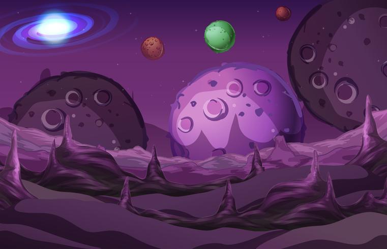 Escena de galaxia con superficie en planeta.