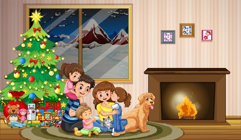 Una famiglia che celebra il Natale