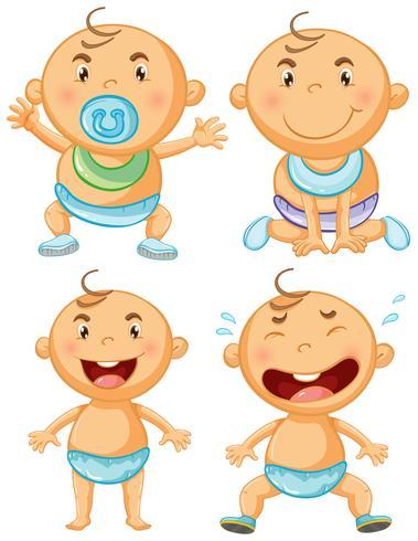 Babyjongen in vier acties