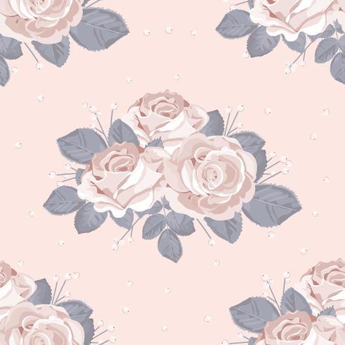 Padrão sem emenda floral retrô. As rosas brancas com cinza azul saem no fundo do rosa pastel. Ilustração vetorial