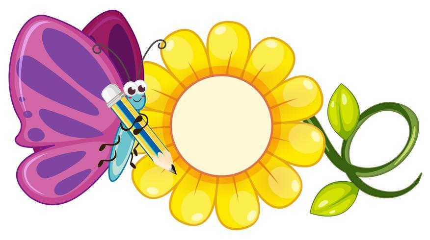 Farfalla con ali viola e fiore giallo