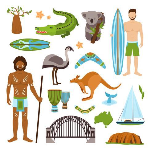 Australien ikoner set vektor