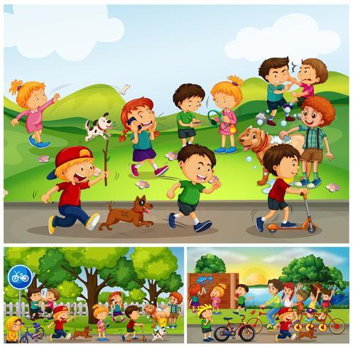 Många barn gör saker i parken