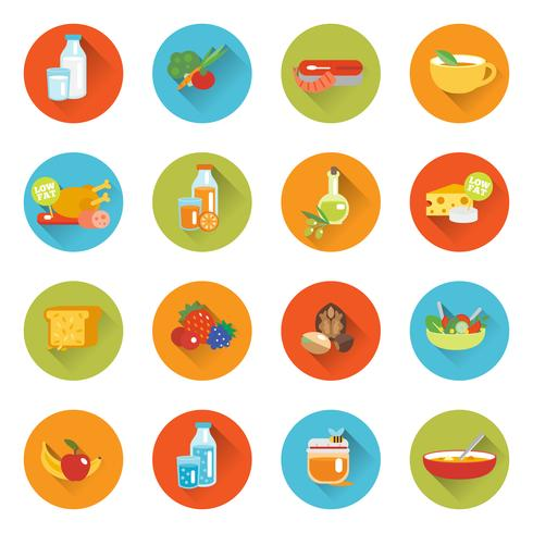 Healthy eating flat icons