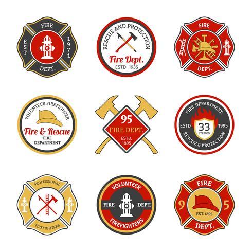 Emblemas del departamento de bomberos vector