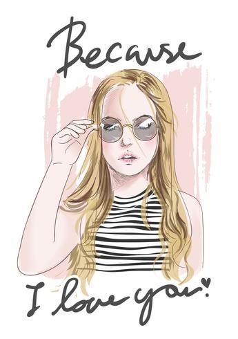 slogan with hand drawn girl illustration