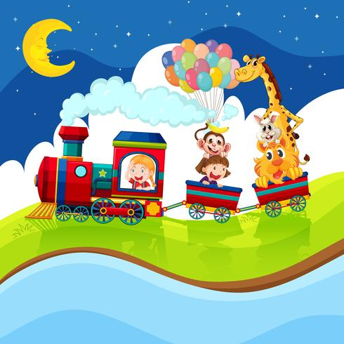 Kids and animals riding on the train at night