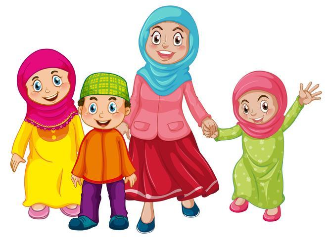 Una familia musulmana sobre fondo blanco vector
