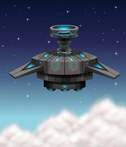 Svart rymdskepp som flyger på natten