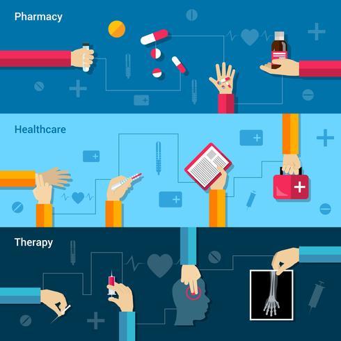 Conjunto de banner plano médico
