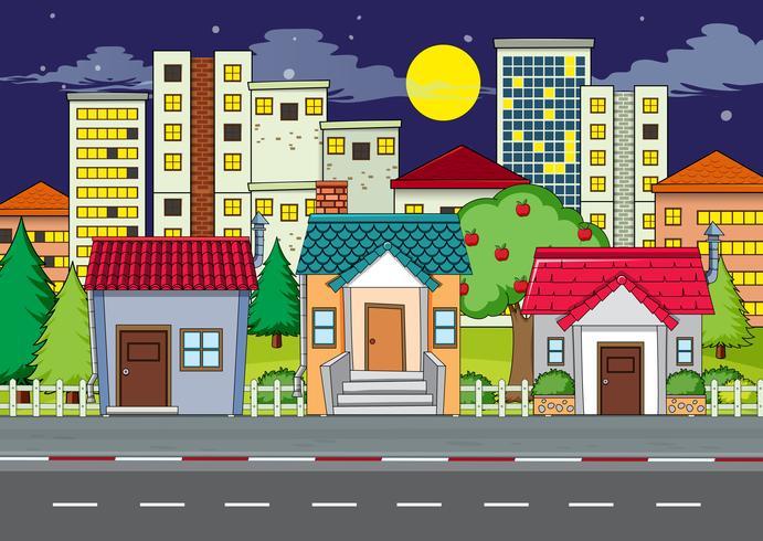 A flat urban city scene