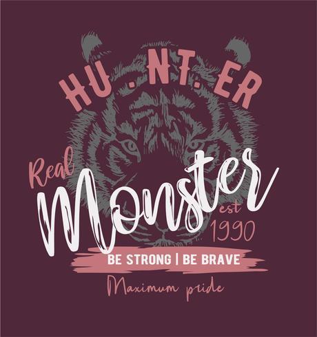 typography slogan on tiger illustration background
