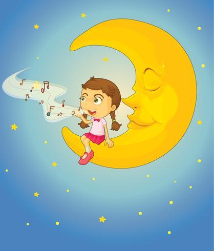 Fille et lune