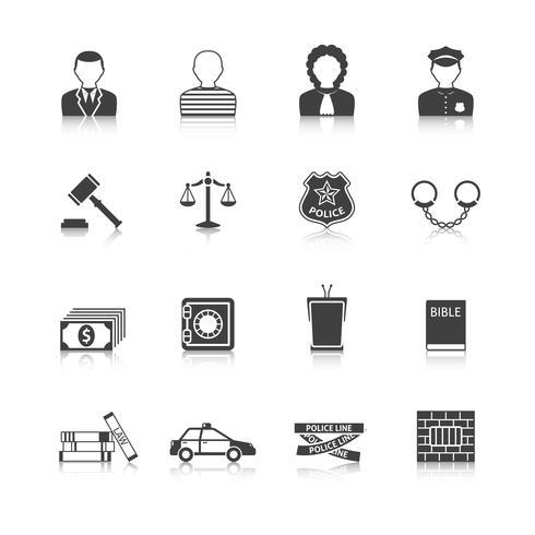 Crime and Punishments Ikoner Set vektor