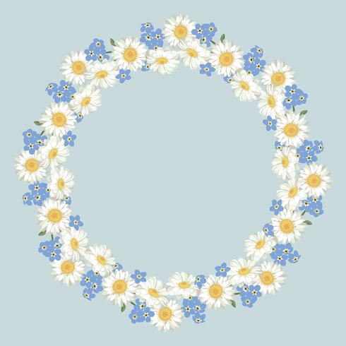 chamomile and forget-me-not flowers pattern on vintage blue background vector