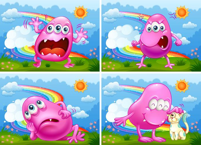 Een set van Pink Monster
