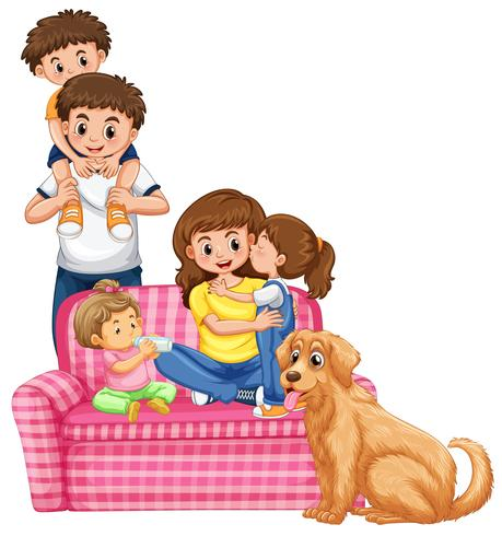 Een gelukkige familie op witte achtergrond